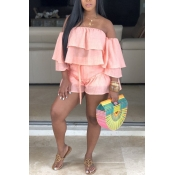 Lovely Sweet Flounce Design Pink Two-piece Shorts
