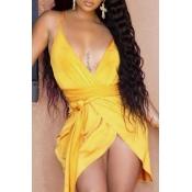 Lovely Sexy Asymmetrical Yellow Mini Dress