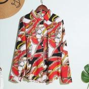 Lovely Stylish Turndown Collar Print Red Shirt