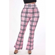 Lovely Trendy Grid Pink Pants