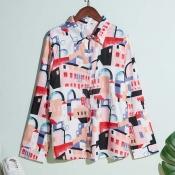 Lovely Trendy Turndown Collar Print Multicolor Shi