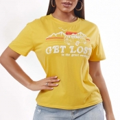 Lovely Casual O Neck Print Yellow T-shirt