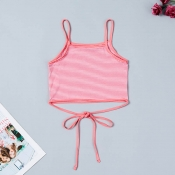 Lovely Trendy Striped Pink Camisole