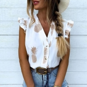 Lovely Trendy Flounce Design Brown Blouse