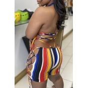 Lovely Sexy Striped Backless Plus Size One-piece R