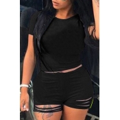 Lovely Trendy Hollow-out Black Plus Size Two-piece Shorts Set