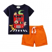 Lovely Casual Print Orange Boy Two-piece Shorts Se