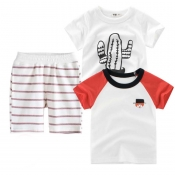 Lovely Casual Striped Print Boy Two-piece Shorts S
