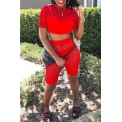 Lovely Sportswear Patchwork Red Two-piece Shorts S