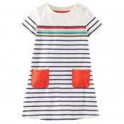 Lovely Sweet Striped MulticolorGirl Knee Length D