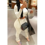 Lovely Casual Fold Design Beige Two-piece Pants Set