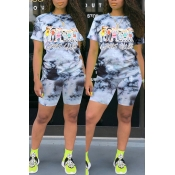 Lovely Trendy Print Grey Two-piece Shorts Set