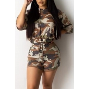 Lovely Casual Camo Print Brown Two-piece Shorts Se