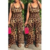 Lovely Leisure Leopard Print One-piece Jumpsuit