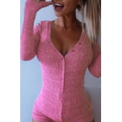 Lovely Casual Buttons Design Pink One-piece Romper