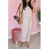 Lovely Casual Buttons Design Light Grey One-piece