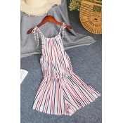 Lovely Trendy Striped Lace-up One-piece Romper
