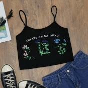 Lovely Casual Print Black Camisole