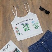 Lovely Trendy Print White Camisole