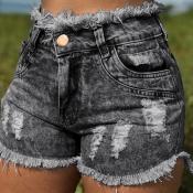 Lovely Stylish Broken Holes Black Plus Size Shorts
