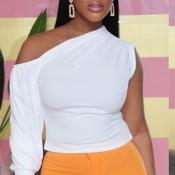 Lovely Trendy One Shoulder White Blouse