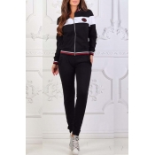 Lovely Sportswear Patchwork Black Loungewear