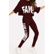Lovely Sportswear Letter Print Wine Red Loungewear