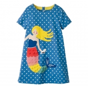 Lovely Casual Cartoon Print Blue Girl Knee Length