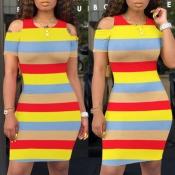Lovely Trendy Striped Red Knee Length Dress