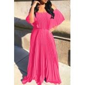 Lovely Trendy Fold Design Rose Red Maxi Dress