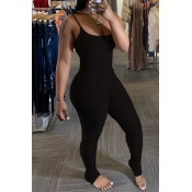 Lovely Sexy Fold Design Black One-piece Jumpsuit
