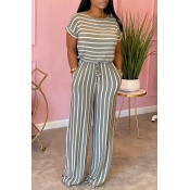 Lovely Trendy Striped Print Grey One-piece Jumpsuit