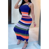 Lovely Sexy Striped Royalblue Ankle Length Dress