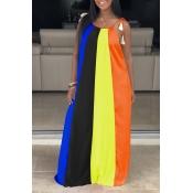 Lovely Casual Rainbow Striped CrociMaxi Dress
