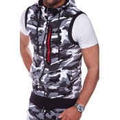 Lovely Stylish Camo Print Grey Vest