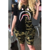 Lovely Casual Camo Print Plus Size Two-piece Short