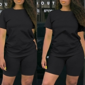 Lovely Casual Basic Black Plus Size Two-piece Shor