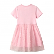 Lovely Sweet Patchwork Pink Girl Knee Length Dress
