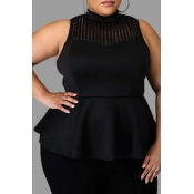 Lovely Trendy Patchwork Black Plus Size Blouse