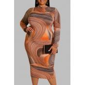 Lovely Trendy Print Orange Knee Length Plus Size D