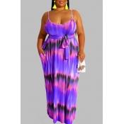 Lovely Casual Tie-dye Purple Maxi Plus Size Dress