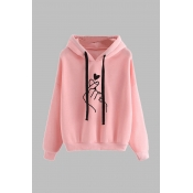 Lovely Casual Print Pink Plus Size Hoodie