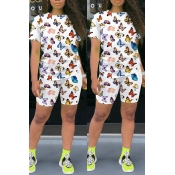 Lovely Casual Butterfly Print White Two-piece Shor