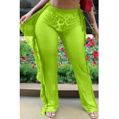 Lovely Flounce Design Green Cover-up(Pants)