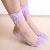 Lovely Sweet Patchwork Purple Socks