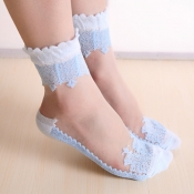 Lovely Sweet Patchwork Skyblue Socks