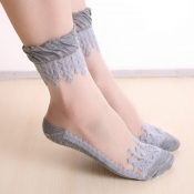 Lovely Sweet Patchwork Grey Socks