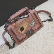 Lovely Stylish Chain Strap Pink Crossbody Bag