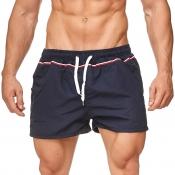 Lovely Sportswear Lace-up Navy Blue Shorts