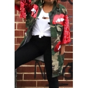 Lovely Casual Patchwork Green Plus Size Jacket